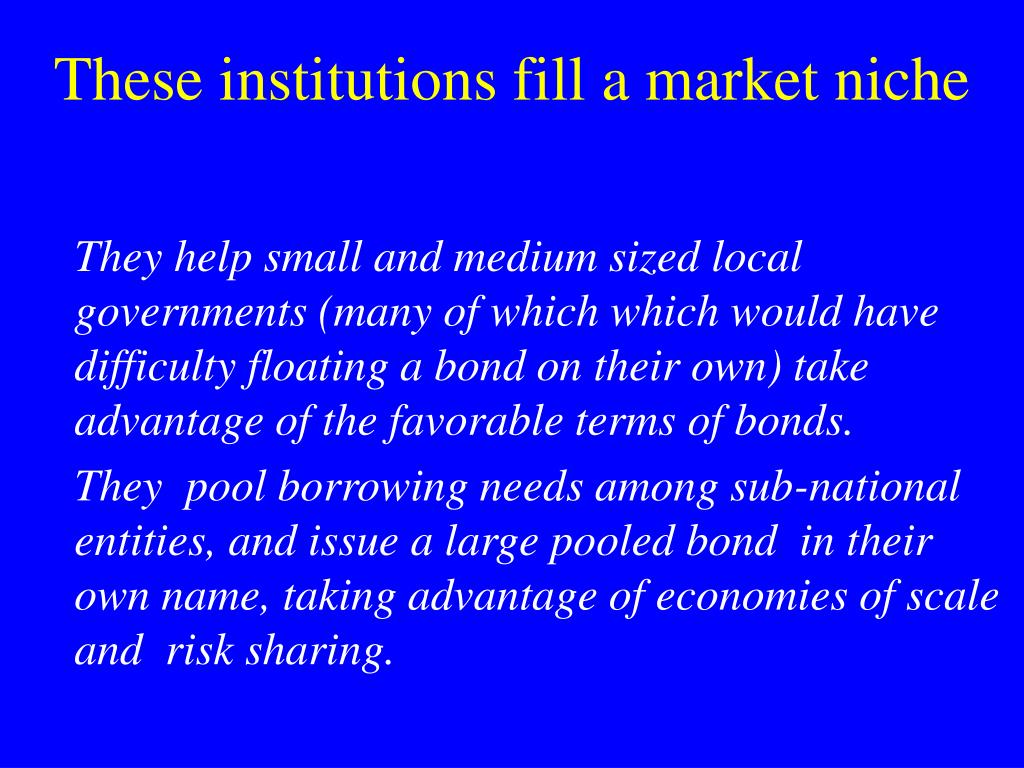 These institutions fill a market niche
