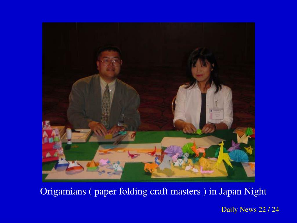Origamians ( paper folding craft masters ) in Japan Night