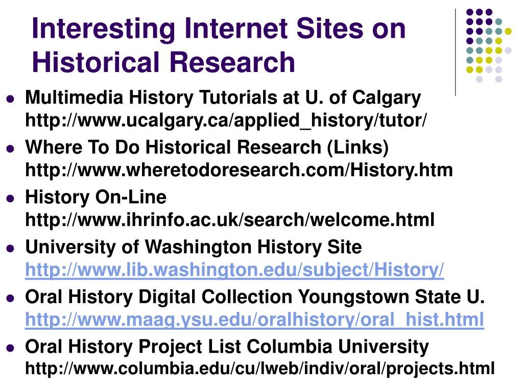 Interesting Internet Sites on Historical Research