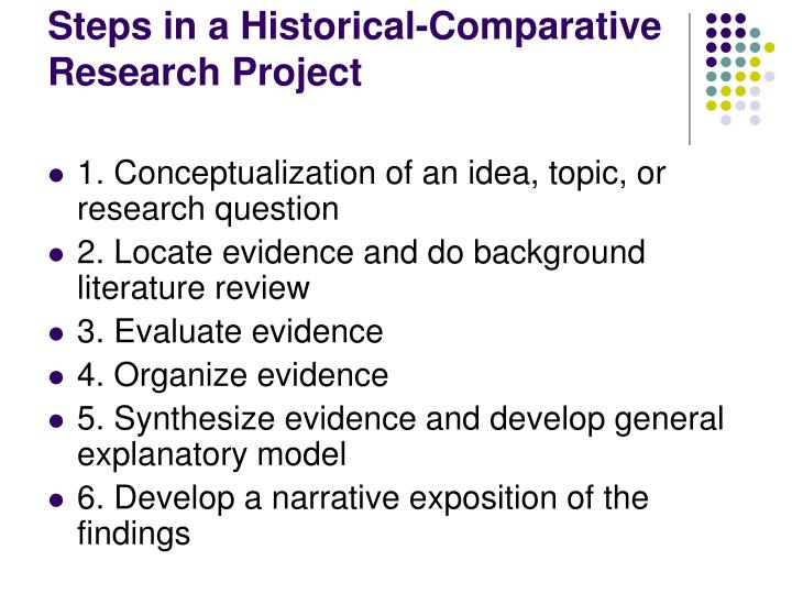 Steps in a historical comparative research project