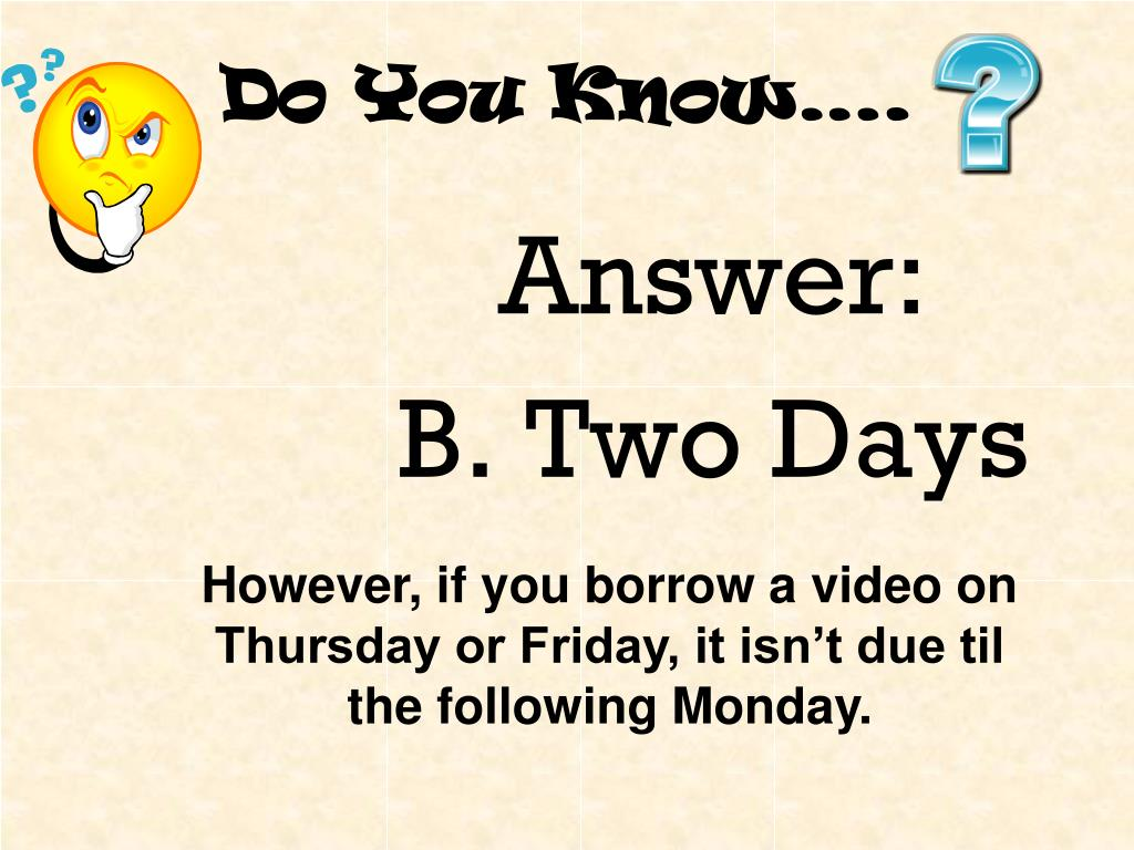 Do You Know….