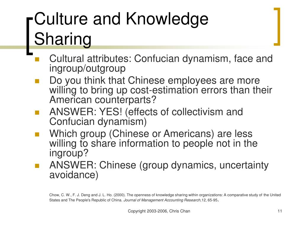 Culture and Knowledge Sharing