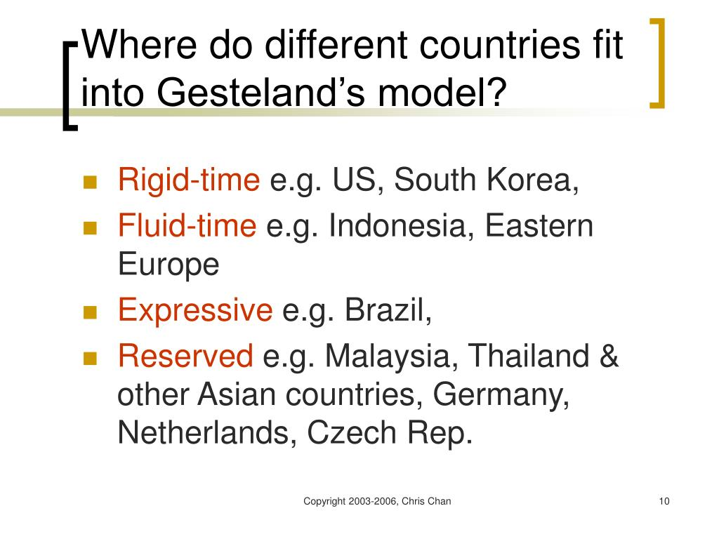 Where do different countries fit into Gesteland's model?