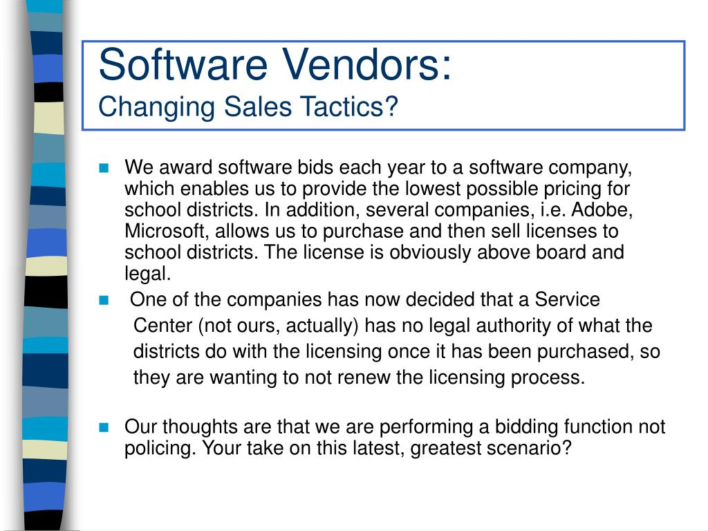 Software Vendors: