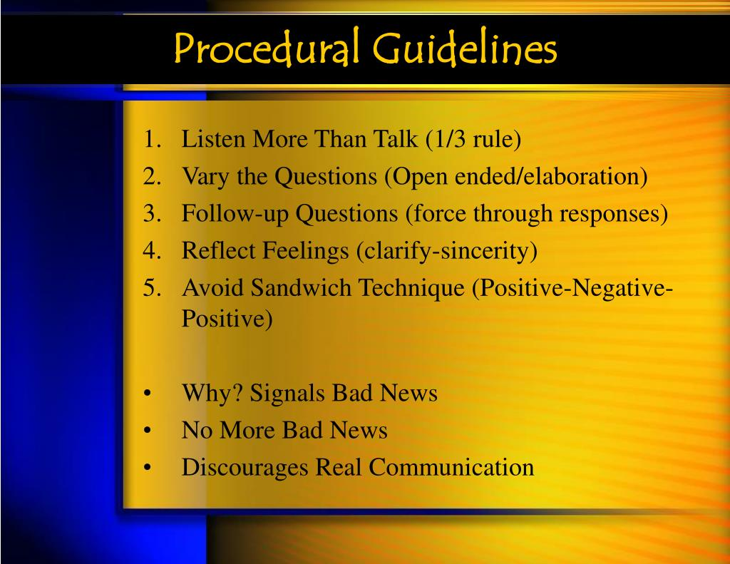 Procedural Guidelines