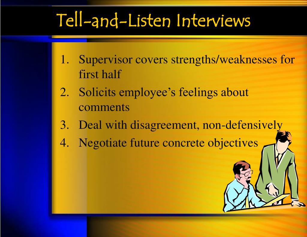 Tell-and-Listen Interviews
