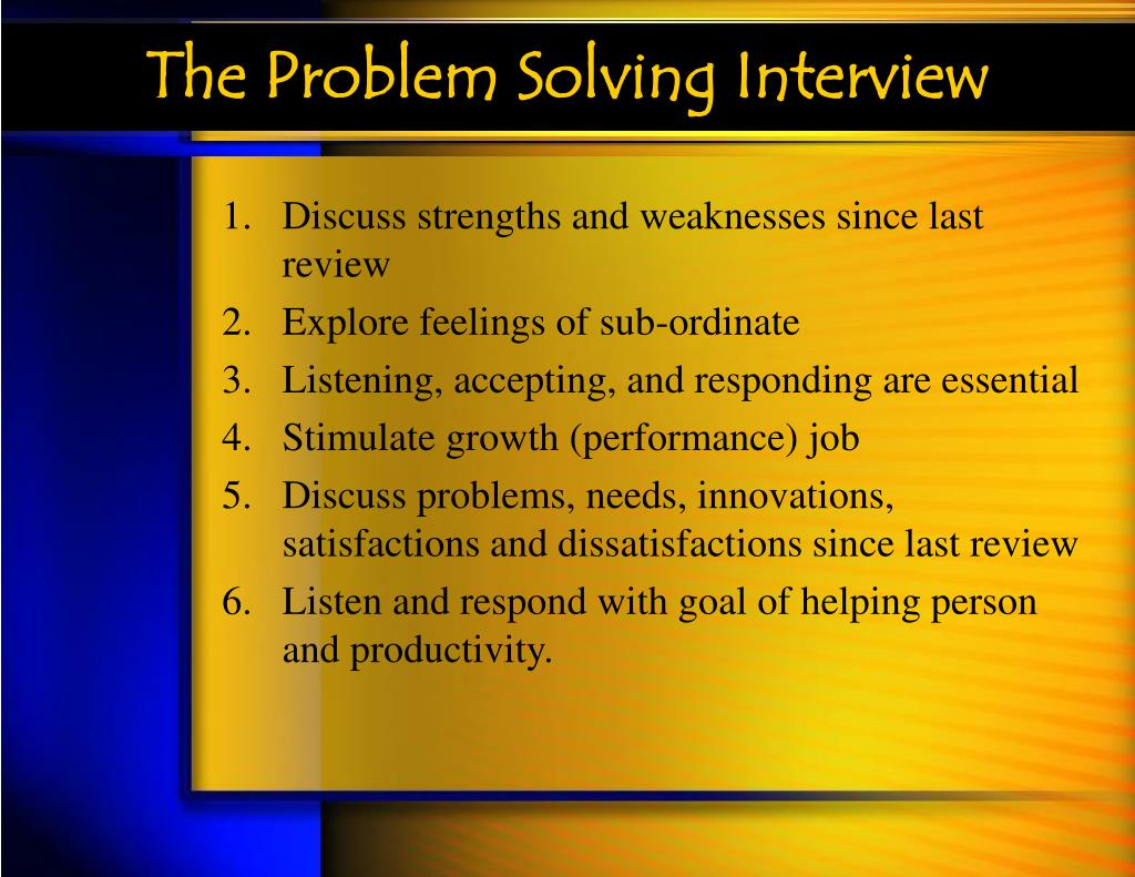 The Problem Solving Interview