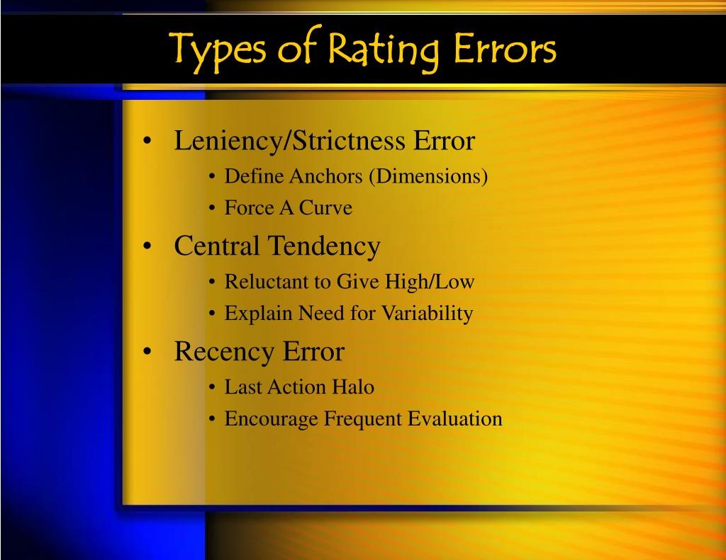 Types of Rating Errors