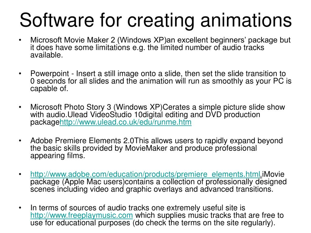 Software for creating animations