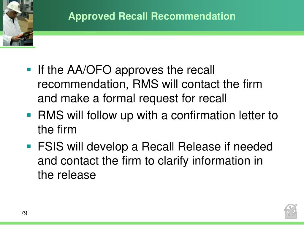 Approved Recall Recommendation