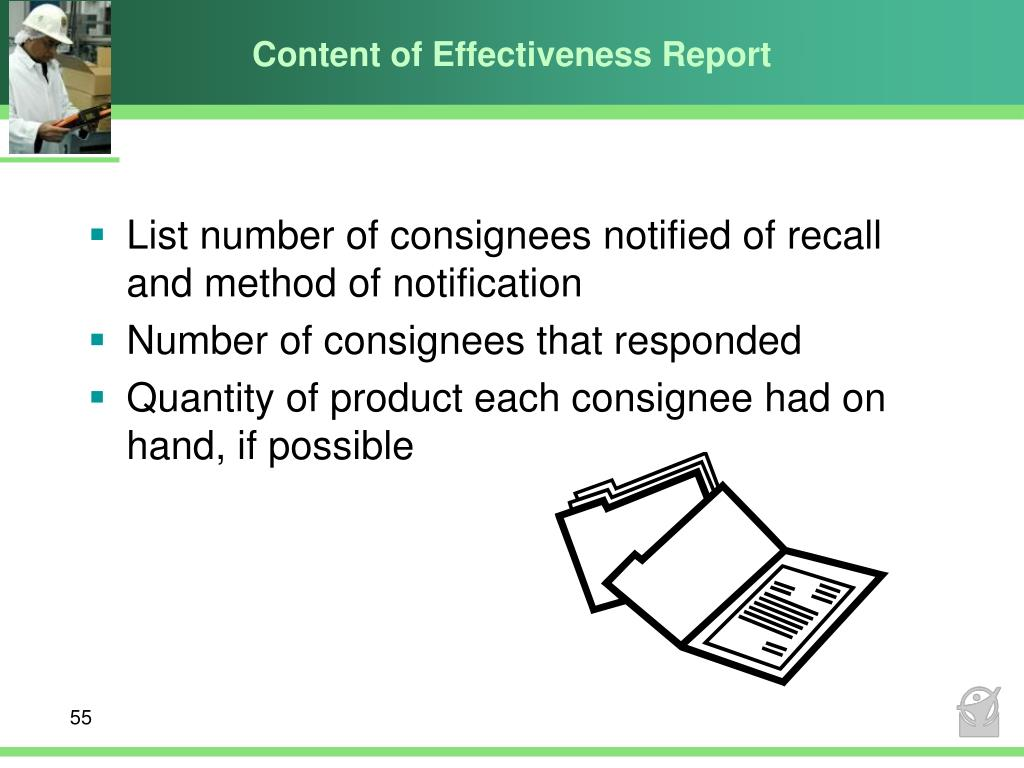 Content of Effectiveness Report