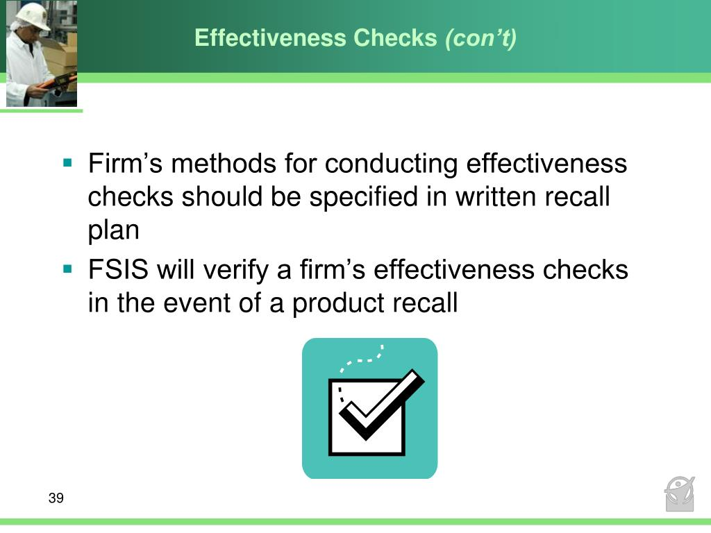 Effectiveness Checks