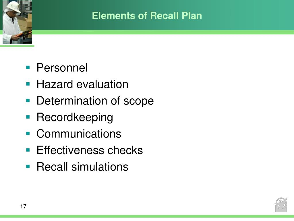 Elements of Recall Plan
