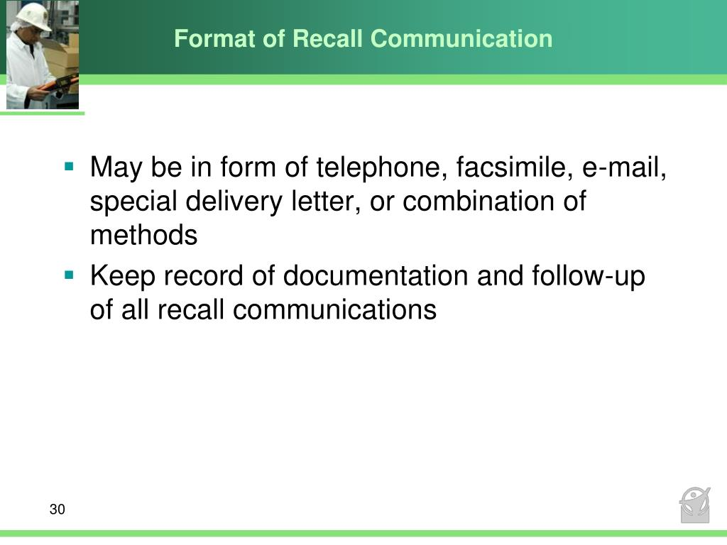Format of Recall Communication