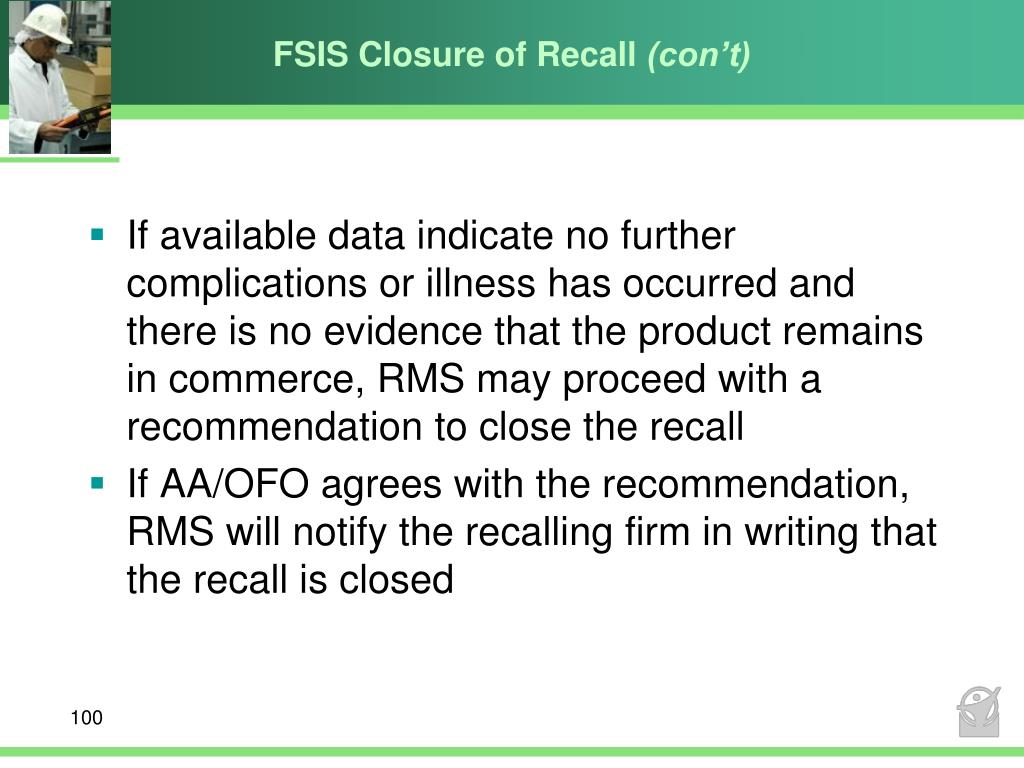 FSIS Closure of Recall