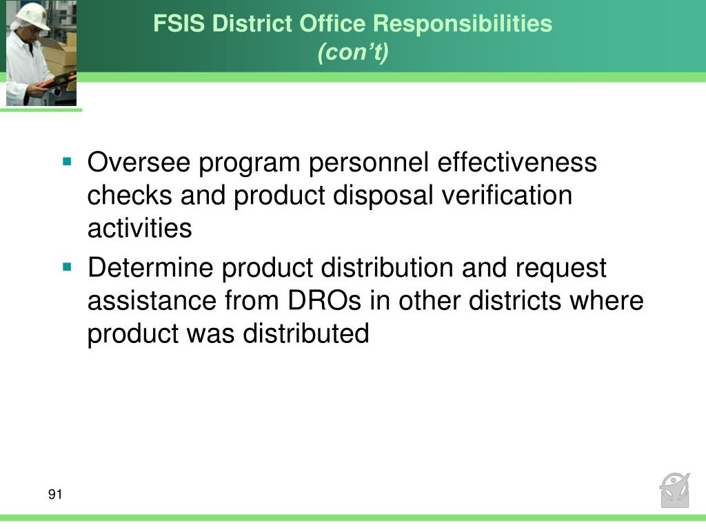 FSIS District Office Responsibilities