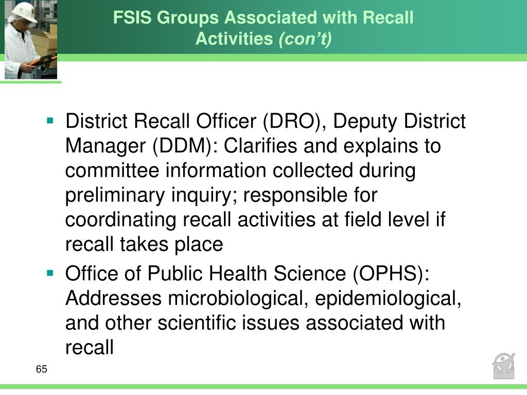 FSIS Groups Associated with Recall Activities