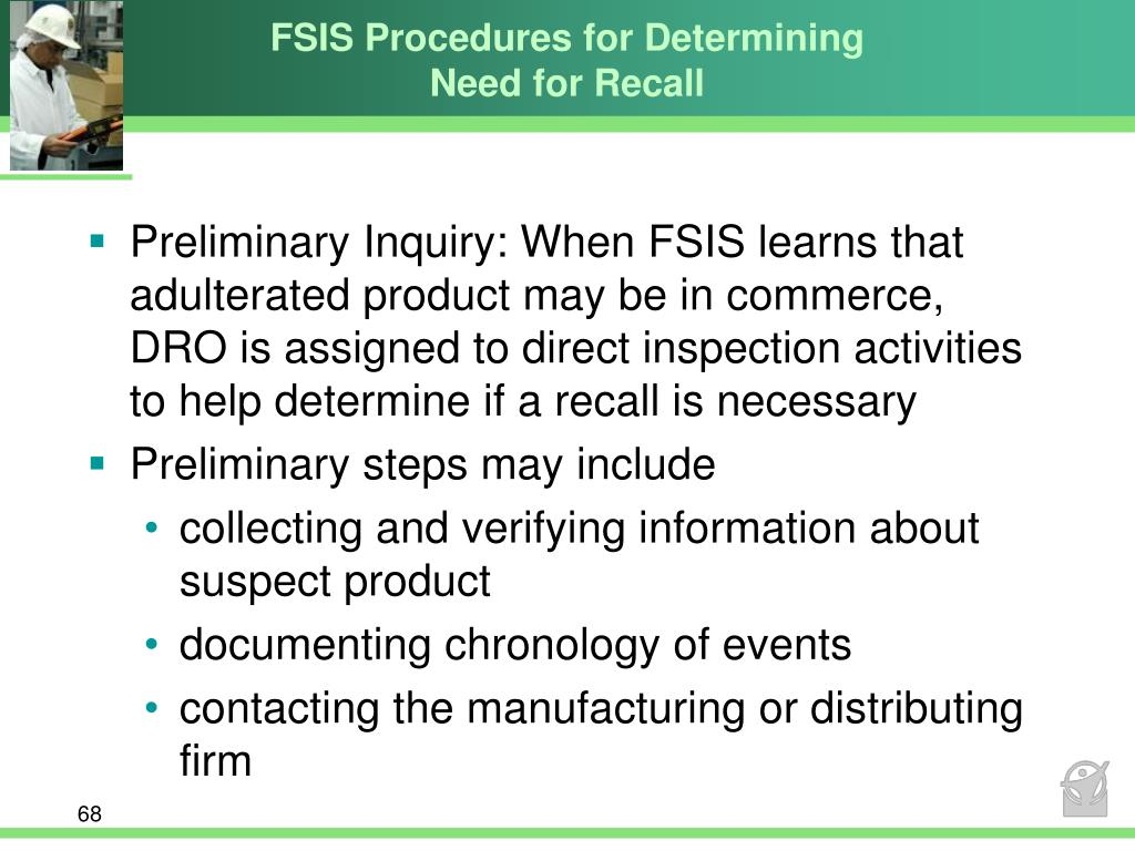 FSIS Procedures for Determining Need for Recall