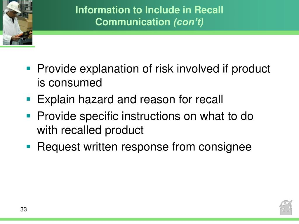 Information to Include in Recall Communication