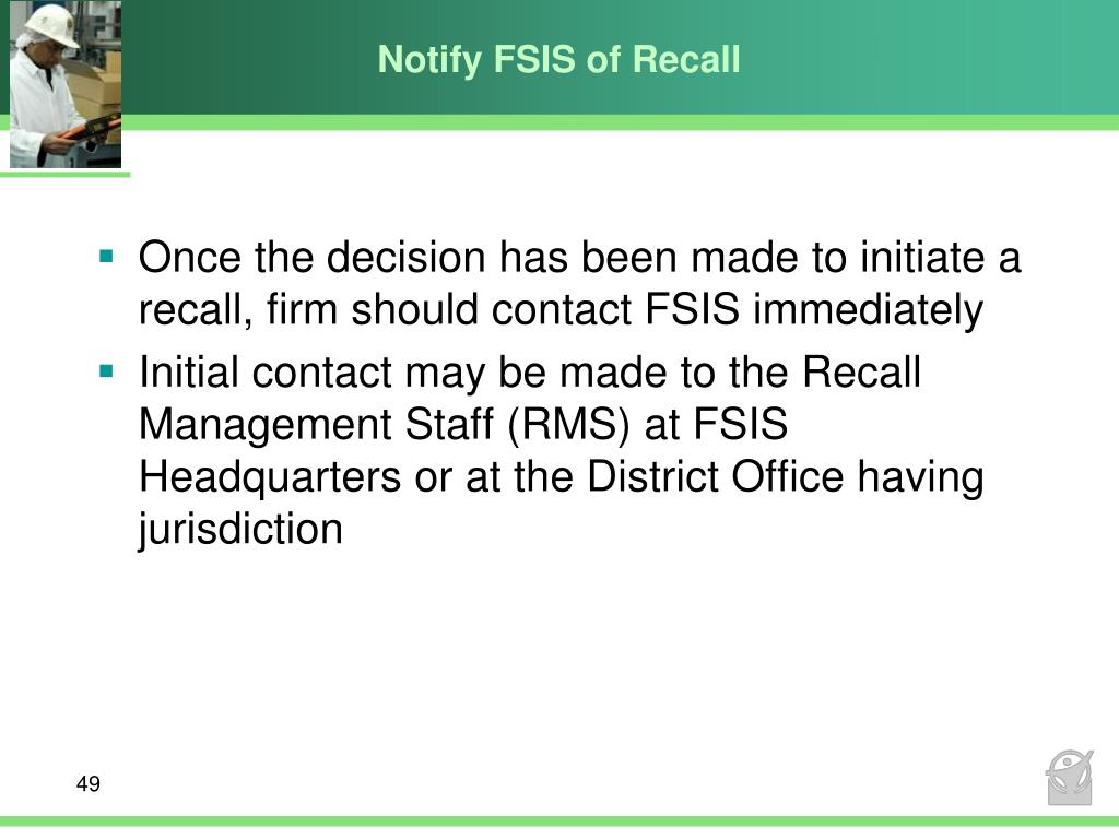 Notify FSIS of Recall
