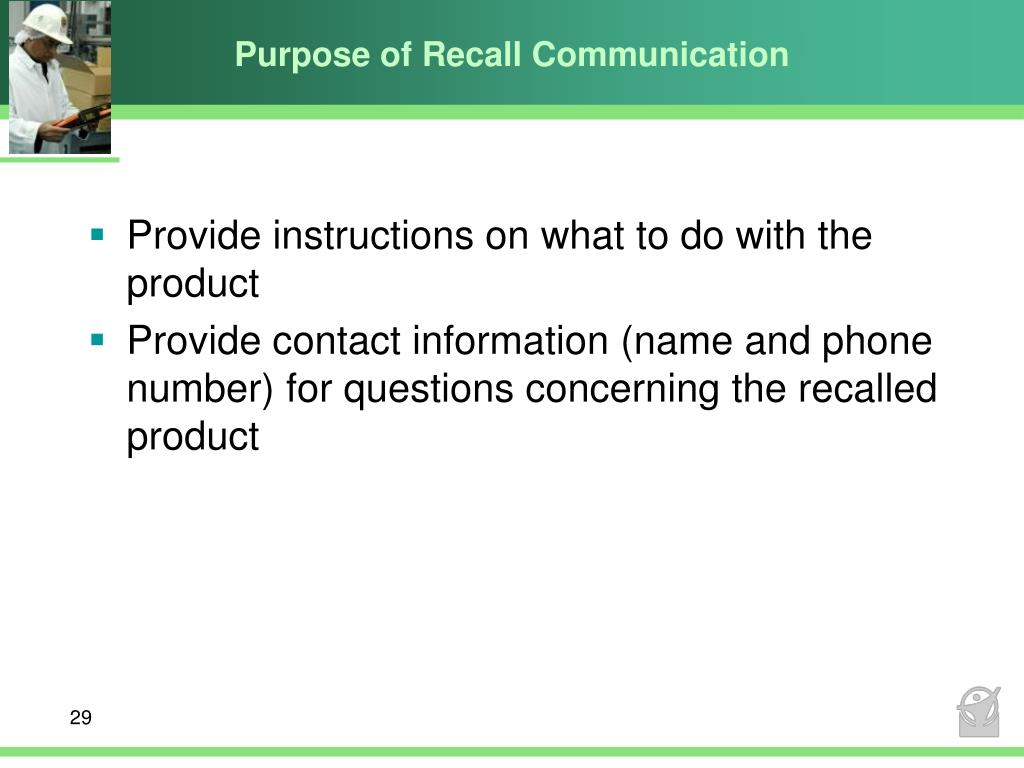 Purpose of Recall Communication