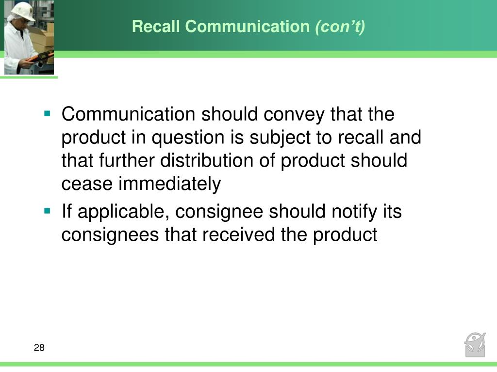 Recall Communication