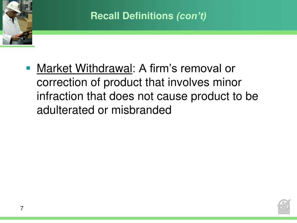 Recall Definitions