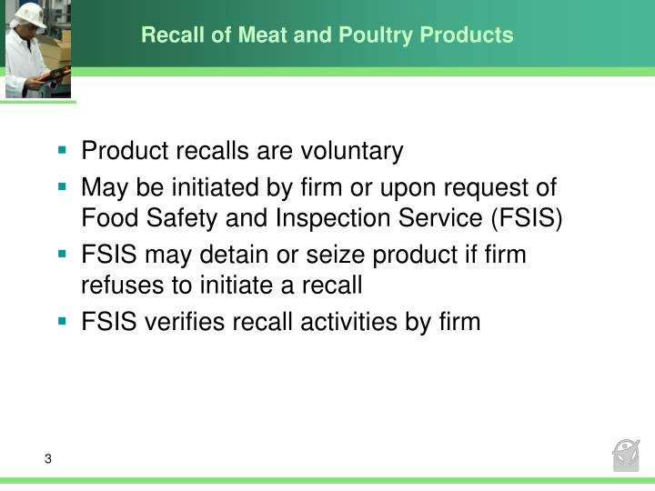 Recall of meat and poultry products