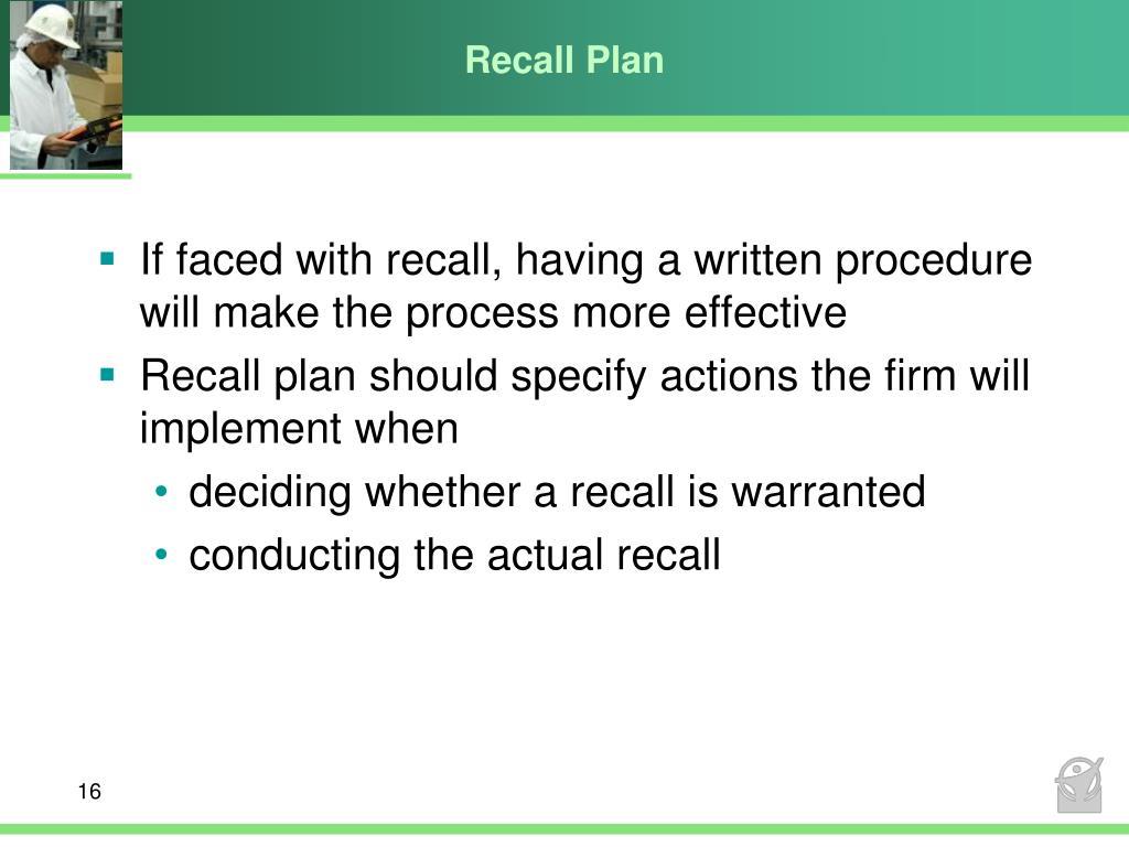 Recall Plan
