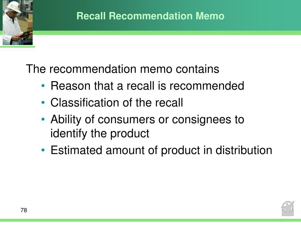 Recall Recommendation Memo