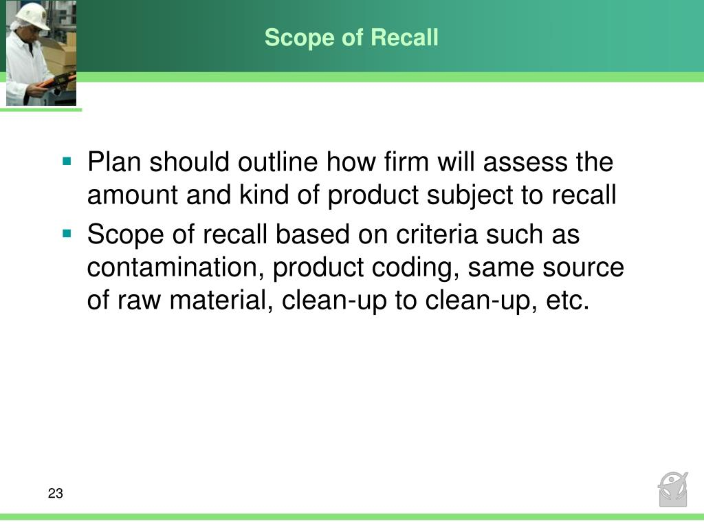 Scope of Recall