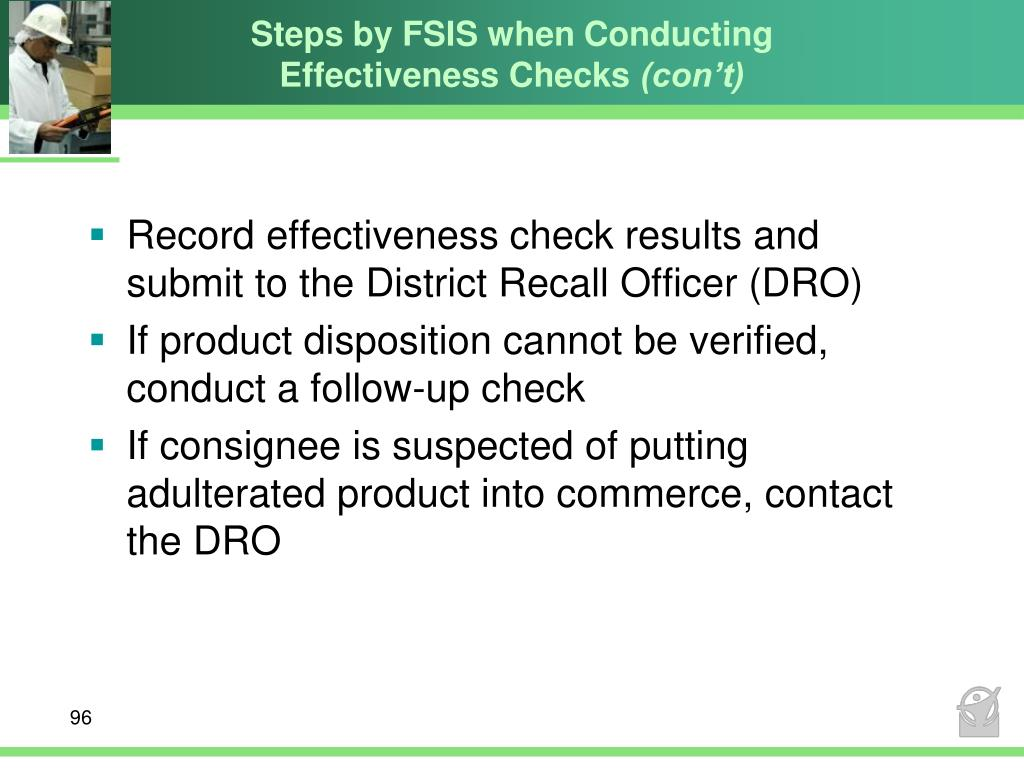 Steps by FSIS when Conducting Effectiveness Checks