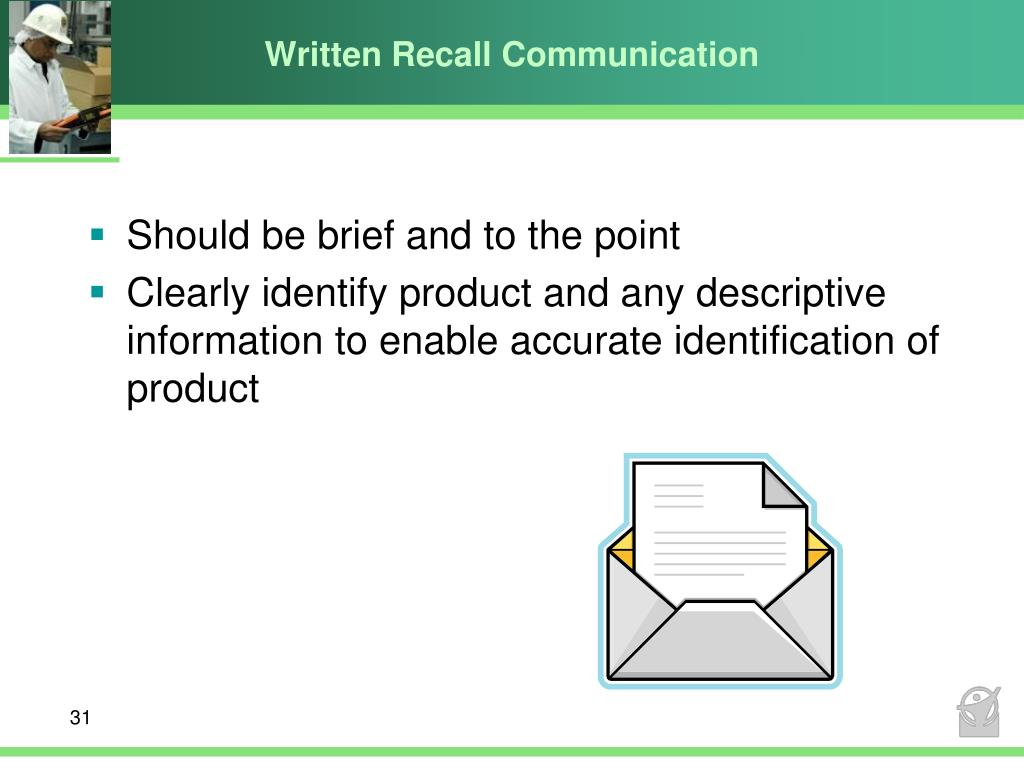 Written Recall Communication