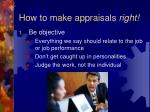 how to make appraisals right