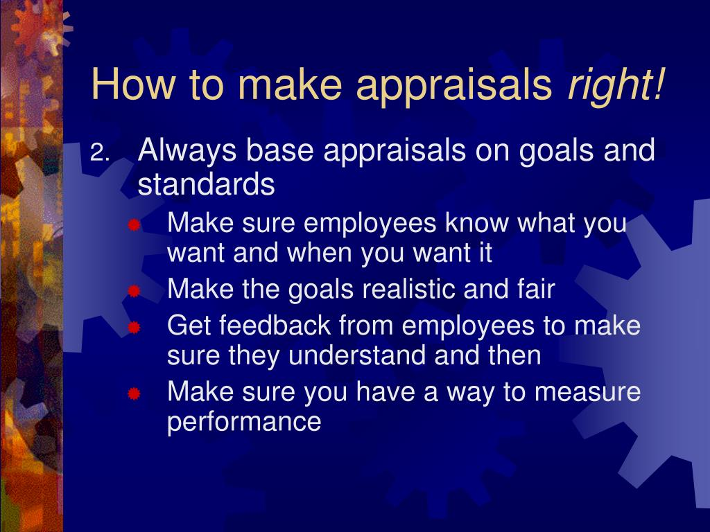 How to make appraisals