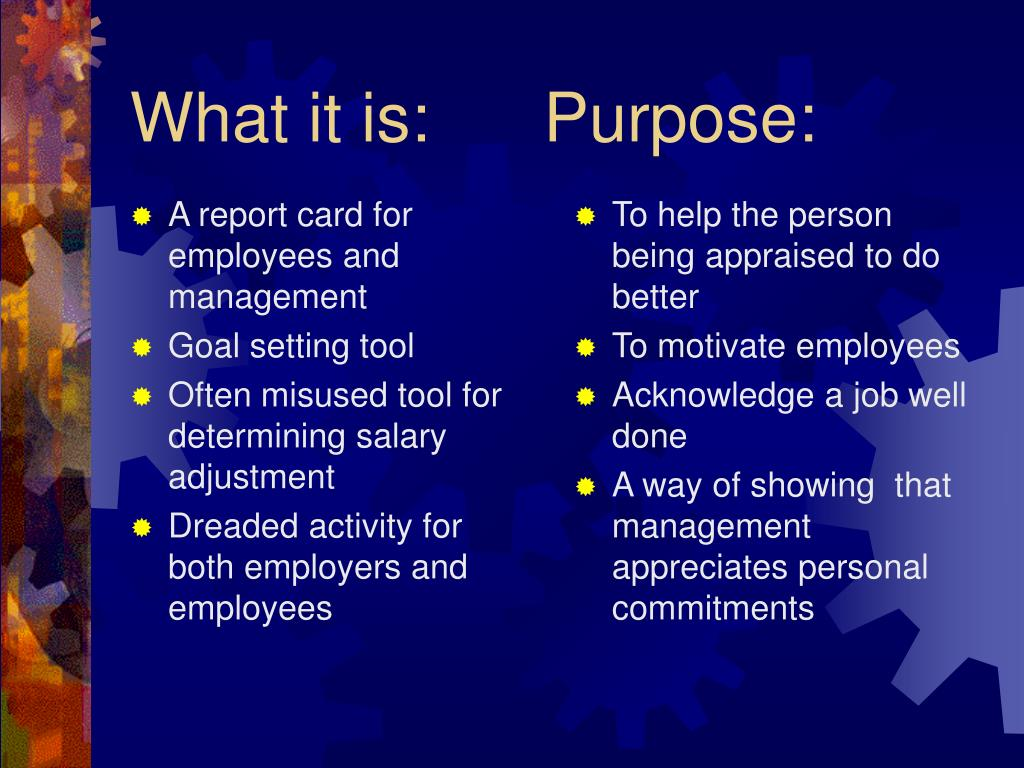 A report card for employees and management