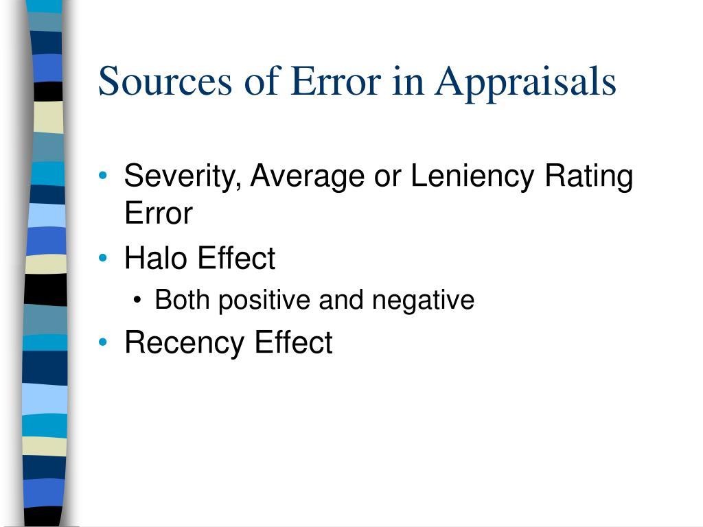 Sources of Error in Appraisals