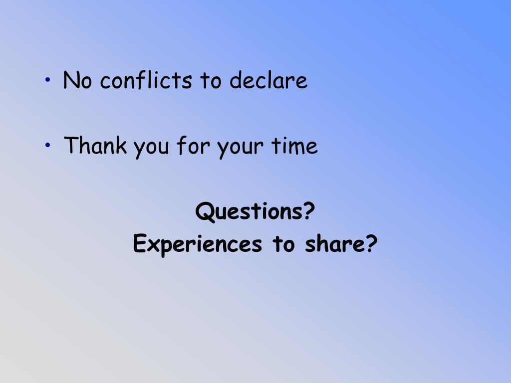 No conflicts to declare