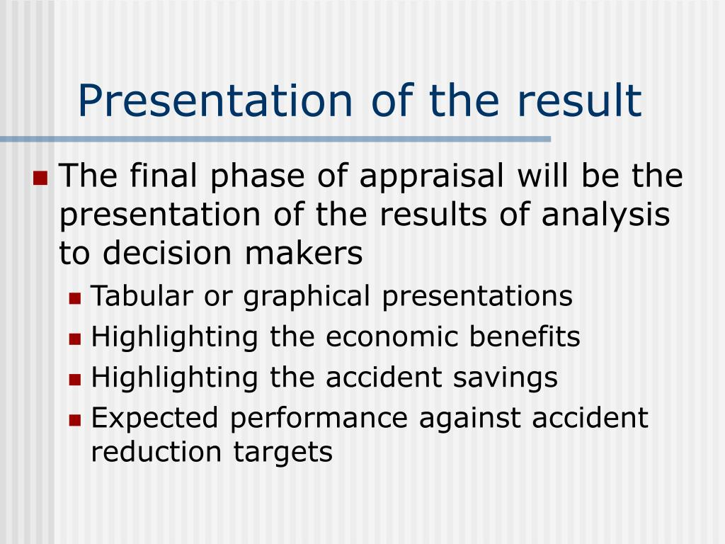 Presentation of the result