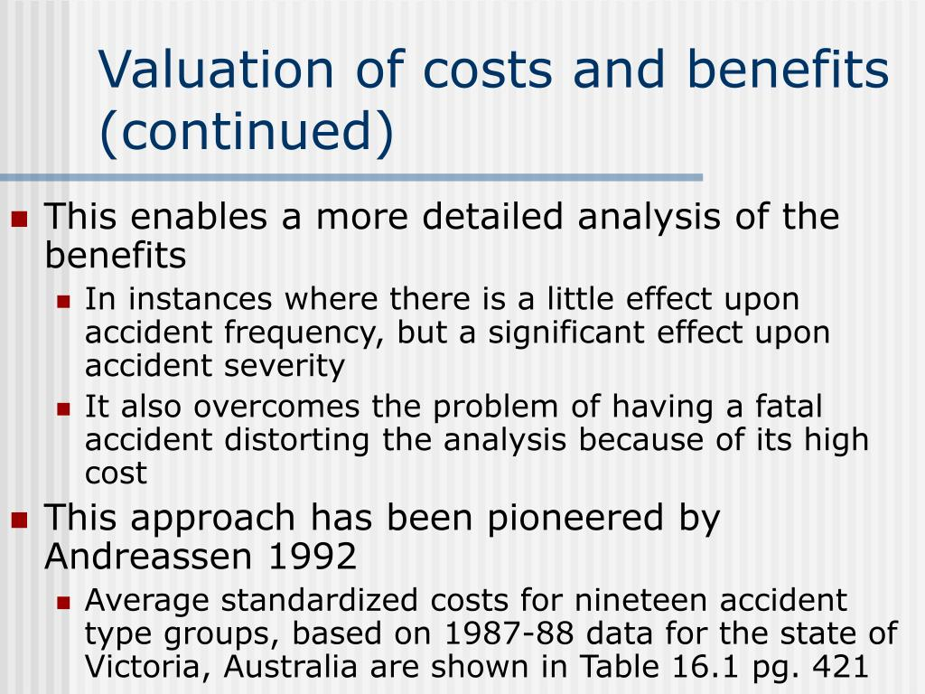 Valuation of costs and benefits (continued)