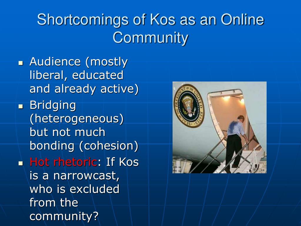 Shortcomings of Kos as an Online Community