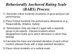 behaviorally anchored rating scale bars process