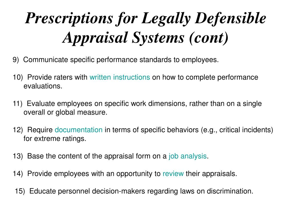 Prescriptions for Legally Defensible Appraisal Systems (cont)