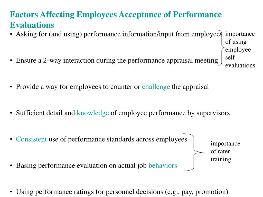 Factors Affecting Employees Acceptance of Performance Evaluations