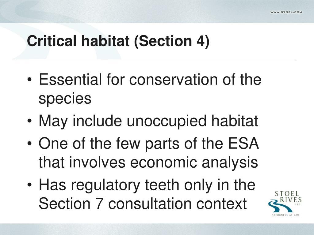 Critical habitat (Section 4)