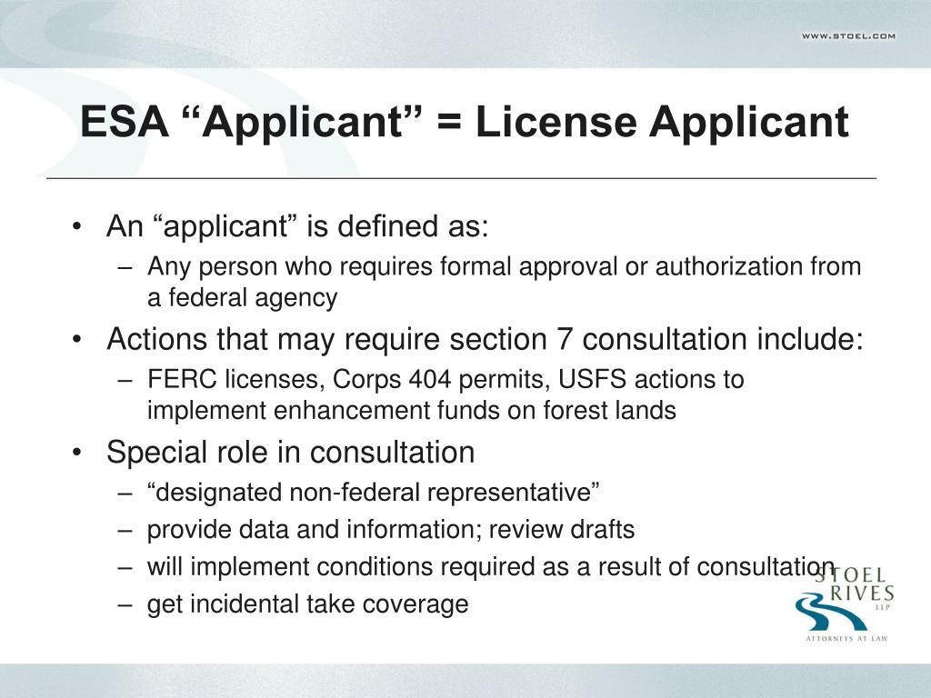 """ESA """"Applicant"""" = License Applicant"""