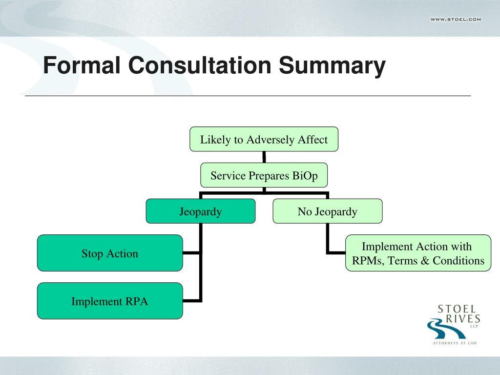 Formal Consultation Summary