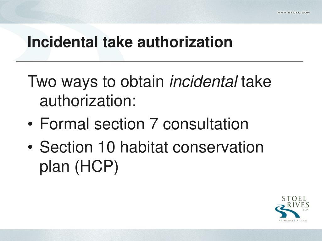 Incidental take authorization