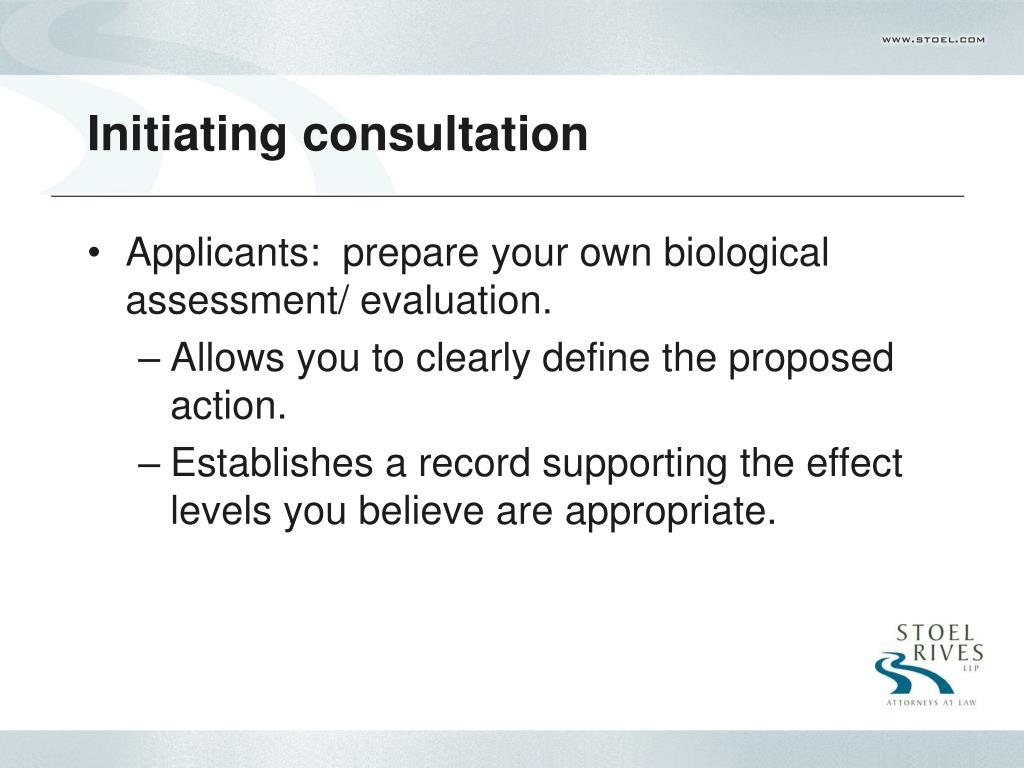 Initiating consultation