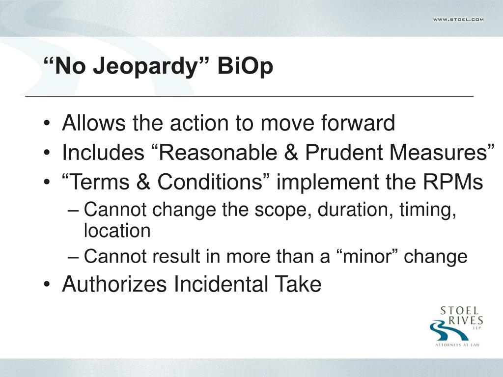 """""""No Jeopardy"""" BiOp"""